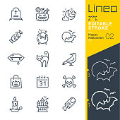 istock Lineo Editable Stroke - Happy Halloween line icons 1048268260