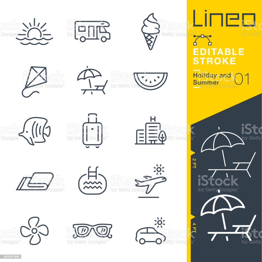 Lineo Editable Stroke - Holiday and Summer line icons royalty-free lineo editable stroke holiday and summer line icons stock illustration - download image now