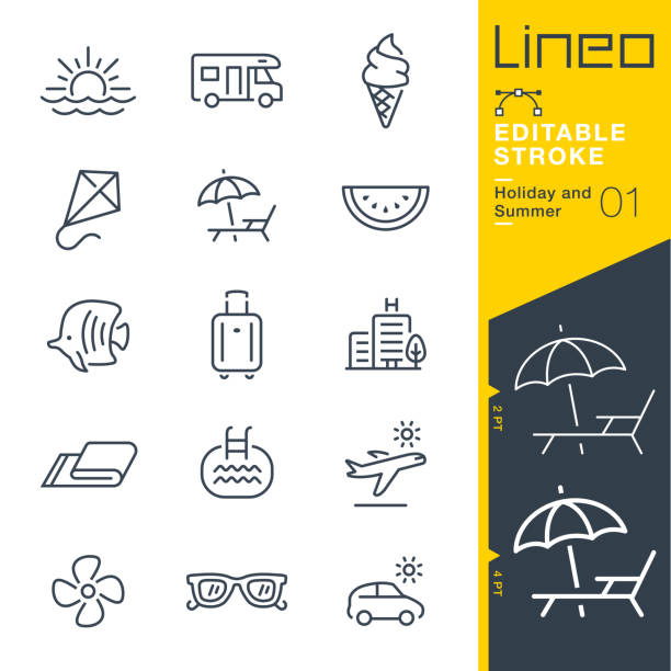 Lineo Editable Stroke - Holiday and Summer line icons Vector Icons - Adjust stroke weight - Expand to any size - Change to any colour hotel stock illustrations