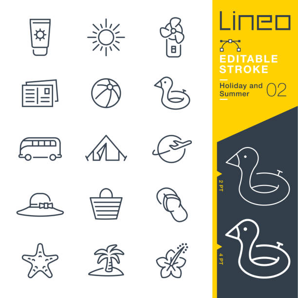 lineo editable stroke - holiday and summer line icons - sun cream stock illustrations