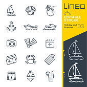 istock Lineo Editable Stroke - Holiday and Summer line icons 954267994