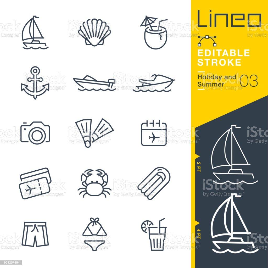 Lineo editável Stroke - férias e verão linha de ícones - ilustração de arte em vetor