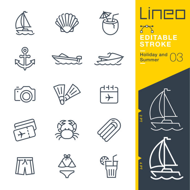 Lineo Editable Stroke - Holiday and Summer line icons vector art illustration