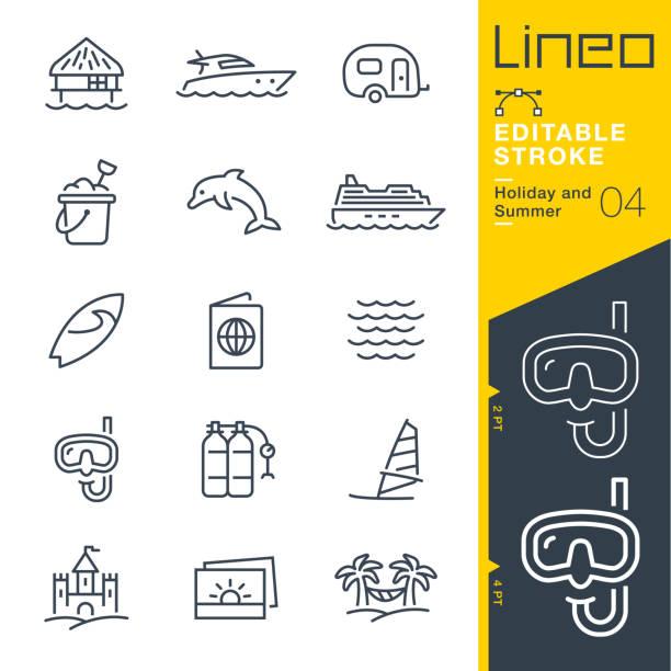 ilustrações, clipart, desenhos animados e ícones de lineo editável stroke - férias e verão linha de ícones - esporte aquático