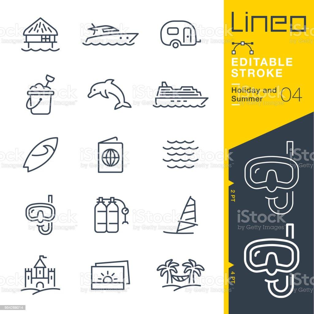 Lineo trazo Editable - vacaciones y verano línea de iconos - ilustración de arte vectorial