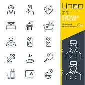 istock Lineo Editable Stroke - Hotel line icons 832132658