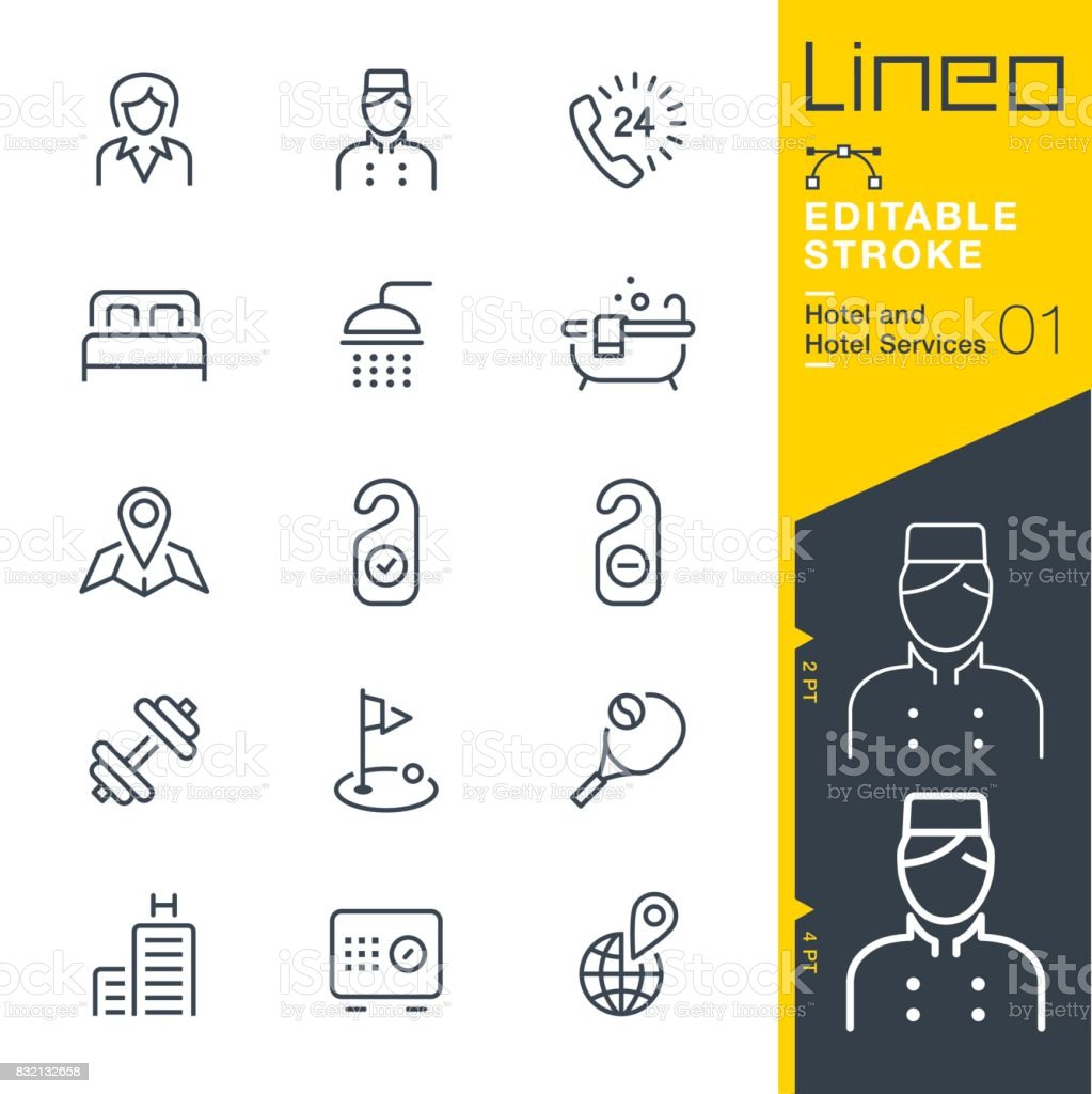 Lineo Editable Stroke - Hotel line icons vector art illustration