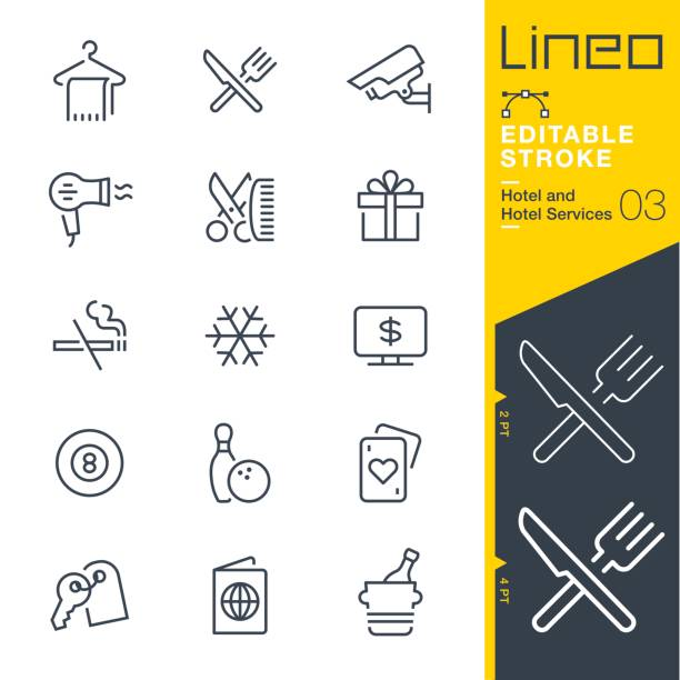 Lineo Editable Stroke - Hotel line icons Vector Icons - Adjust stroke weight - Expand to any size - Change to any colour conceptual symbol stock illustrations