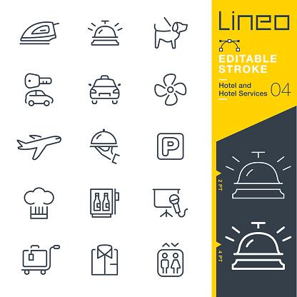 Lineo Editable Stroke - Hotel line icons