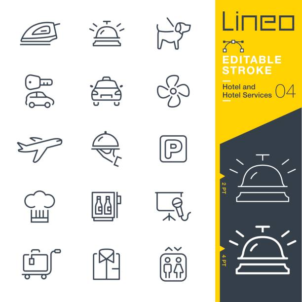 illustrazioni stock, clip art, cartoni animati e icone di tendenza di lineo editable stroke - hotel line icons - cena