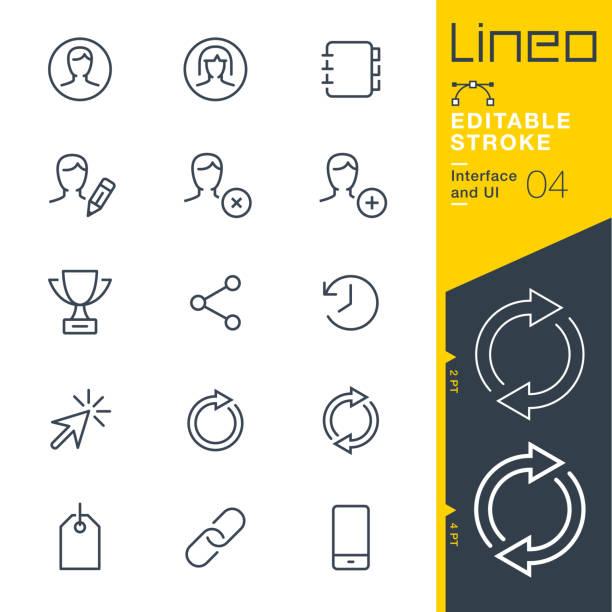 lineo editierbare hub - interface und ui linie symbole - frau handy stock-grafiken, -clipart, -cartoons und -symbole