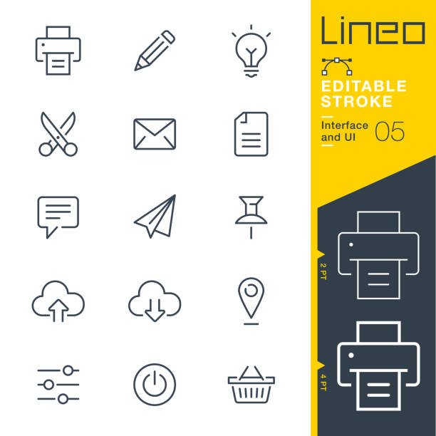 lineo editierbare hub - interface und ui linie symbole - post it stock-grafiken, -clipart, -cartoons und -symbole