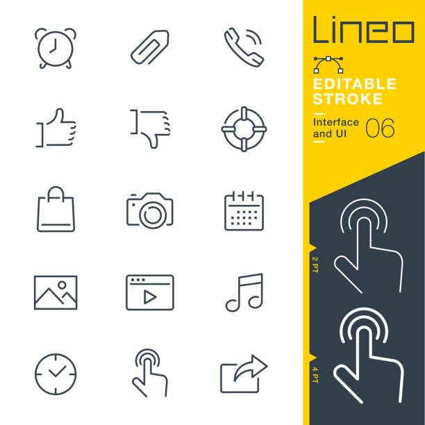 lineo editierbare hub - interface und ui linie symbole - bildkomposition und technik stock-grafiken, -clipart, -cartoons und -symbole