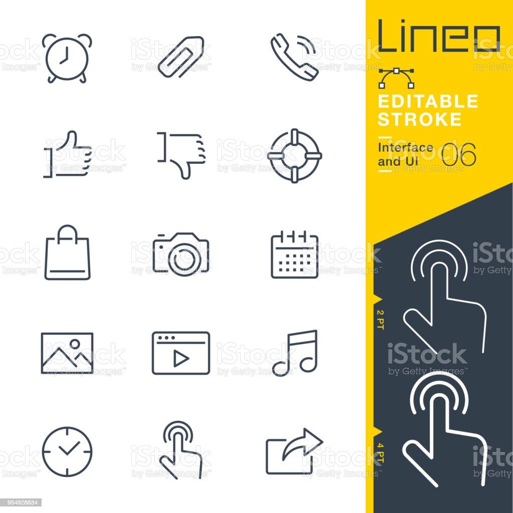 Línea de trazo Editable Lineo - interfaz y la interfaz de usuario iconos - ilustración de arte vectorial