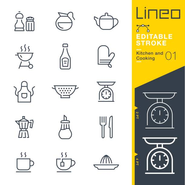 Lineo Editable Stroke - Kitchen and Cooking line icons Vector Icons - Adjust stroke weight - Expand to any size - Change to any colour apron stock illustrations
