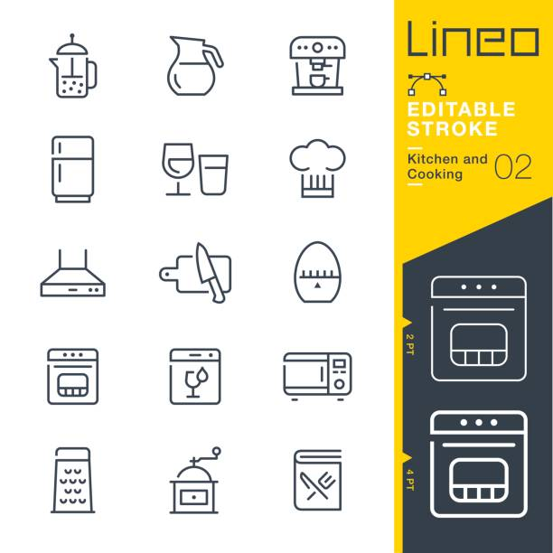 Lineo Editable Stroke - Kitchen and Cooking line icons Vector Icons - Adjust stroke weight - Expand to any size - Change to any colour cooking icons stock illustrations