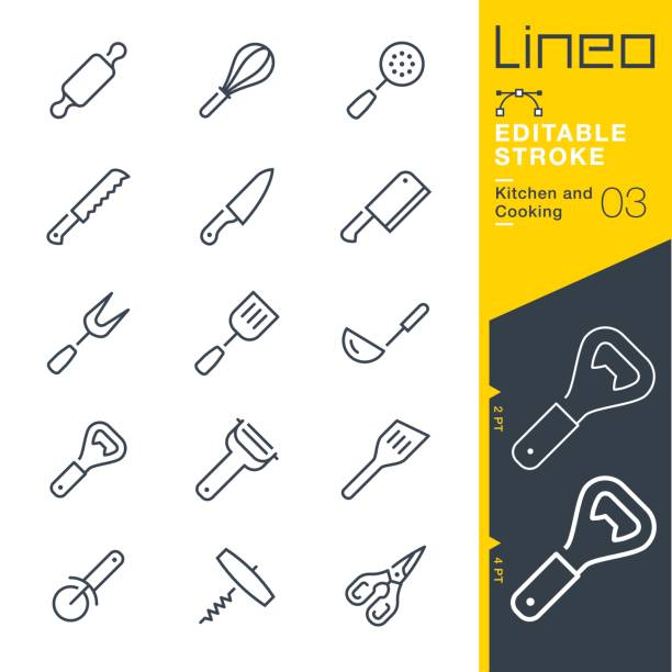 Lineo Editable Stroke - Kitchen and Cooking line icons Vector Icons - Adjust stroke weight - Expand to any size - Change to any colour cooking symbols stock illustrations