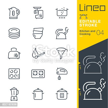 istock Lineo Editable Stroke - Kitchen and Cooking line icons 832192636