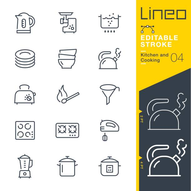 illustrazioni stock, clip art, cartoni animati e icone di tendenza di lineo editable stroke - kitchen and cooking line icons - piatto stoviglie