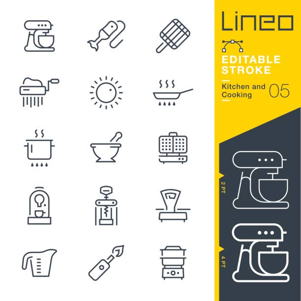 Lineo Editable Stroke - Kitchen and Cooking line icons Vector Icons - Adjust stroke weight - Expand to any size - Change to any colour measuring cup stock illustrations