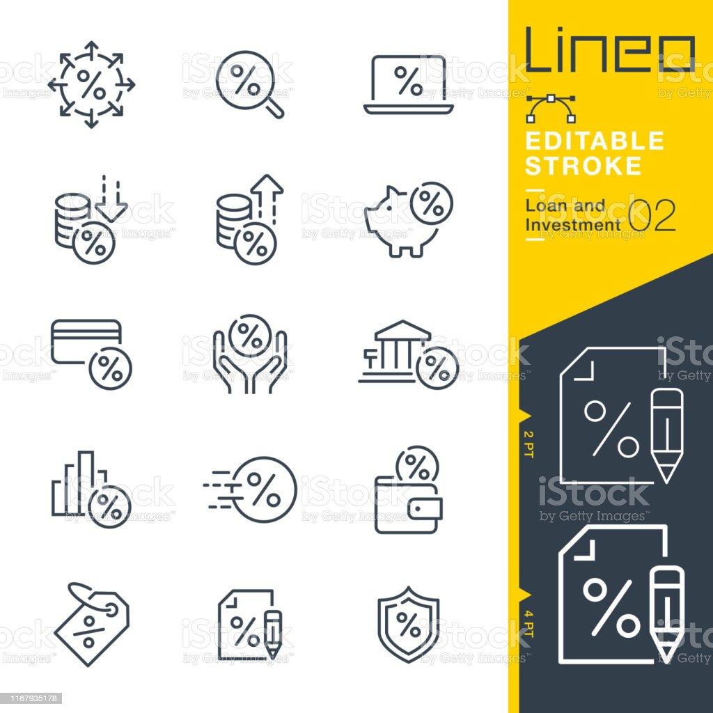 Lineo 可編輯描邊 - 貸款和投資行圖示 - 免版稅付錢圖庫向量圖形