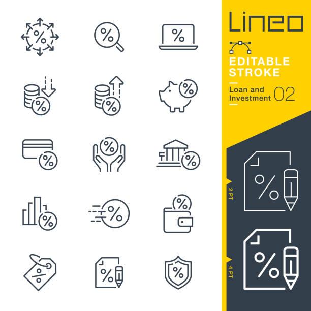ilustrações, clipart, desenhos animados e ícones de curso editable de lineo-ícones da linha do empréstimo e do investimento - empréstimo