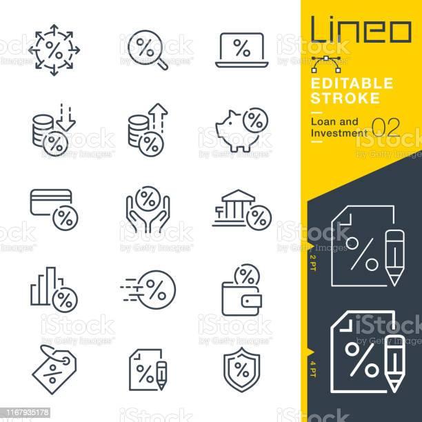 Lineo 可編輯描邊 貸款和投資行圖示向量圖形及更多付錢圖片