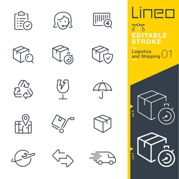 lineo editable stroke - logistics and shipping line icons - warehouse stock illustrations