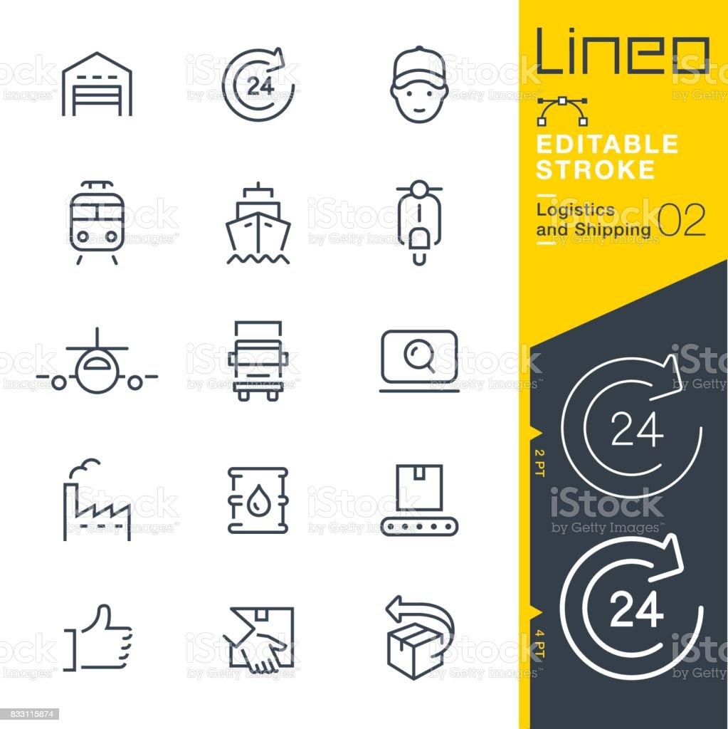 Lineo trazo Editable - logística y envío los iconos de línea - ilustración de arte vectorial