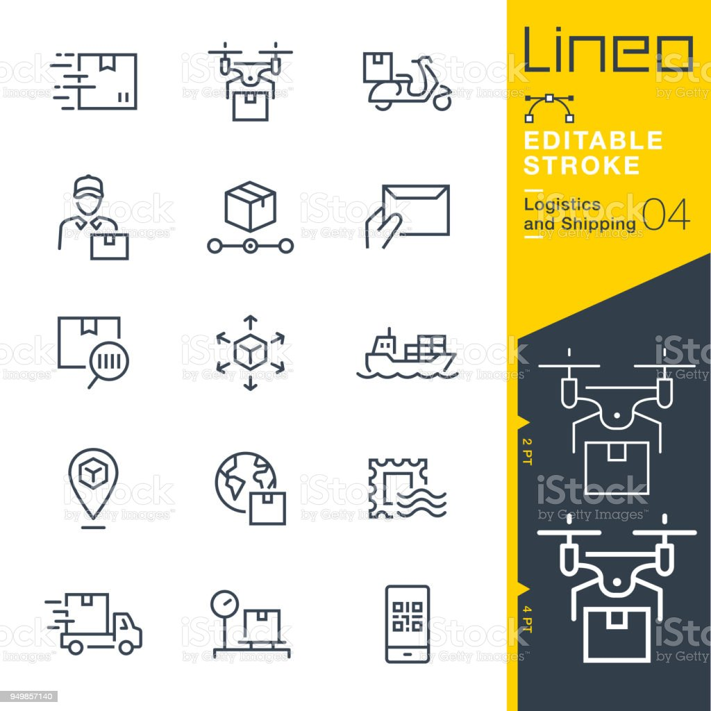 Lineo Editable Stroke - Logistics and Shipping line icons - Grafika wektorowa royalty-free (Bez ludzi)