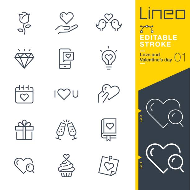 lineo editable stroke - love and valentine's day line icons - birds calendar stock illustrations, clip art, cartoons, & icons