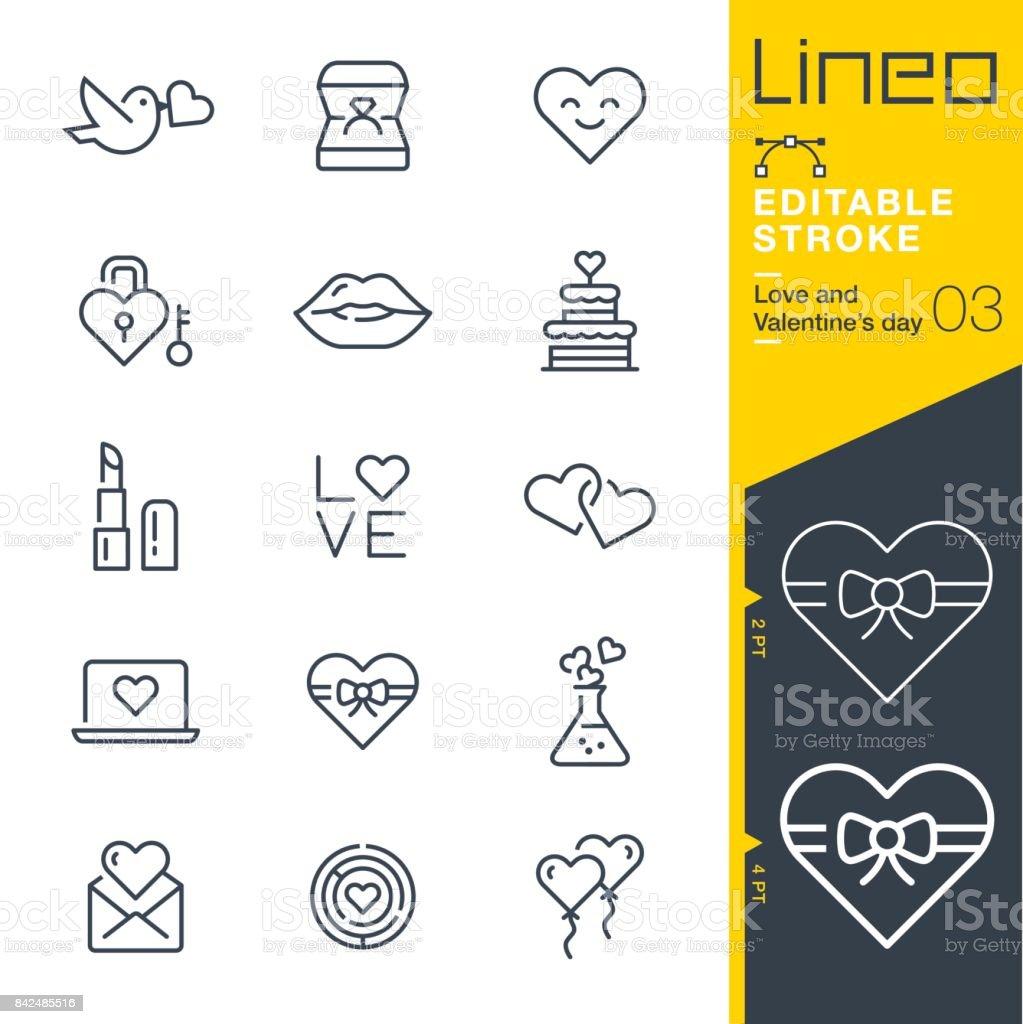 Lineo modifiable AVC - amour et Saint Valentin line icônes - Illustration vectorielle
