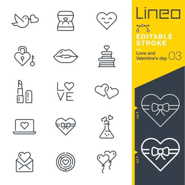 Lineo Editable Stroke - Love and Valentine's day line icons Vector Icons - Adjust stroke weight - Expand to any size - Change to any colour wedding cake stock illustrations