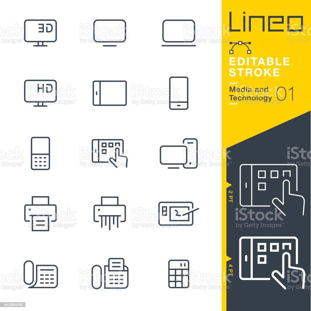Lineo modifiable AVC - médias et la technologie line icônes - Illustration vectorielle