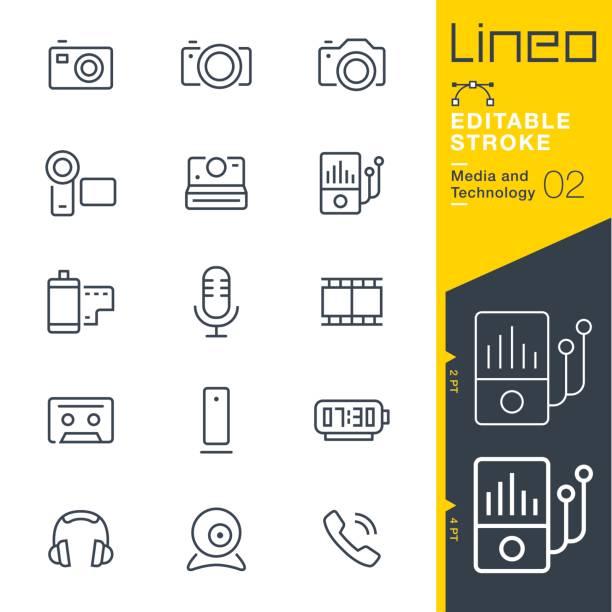 lineo editierbare schlaganfall - medien und technologie linie symbole - fotografische themen stock-grafiken, -clipart, -cartoons und -symbole