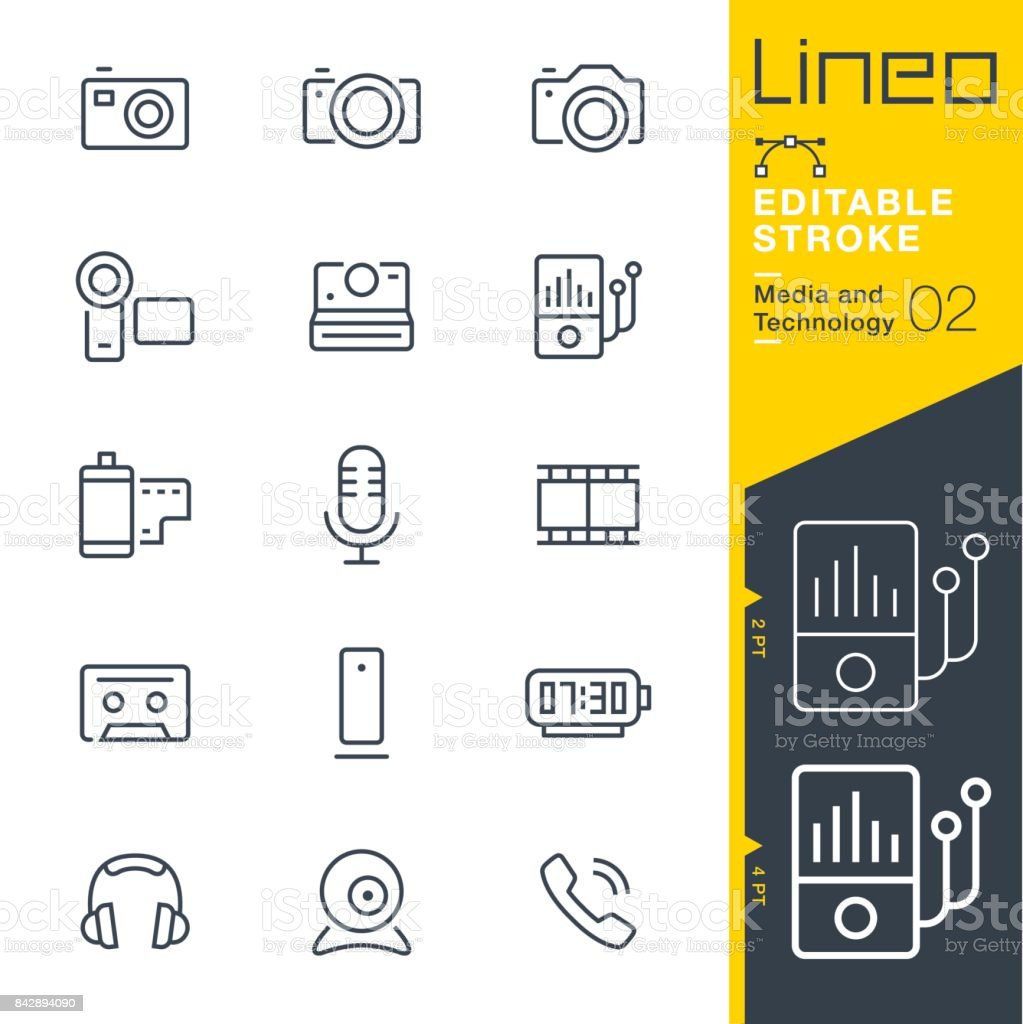 Lineo Editable Stroke - Media and Technology line icons vector art illustration