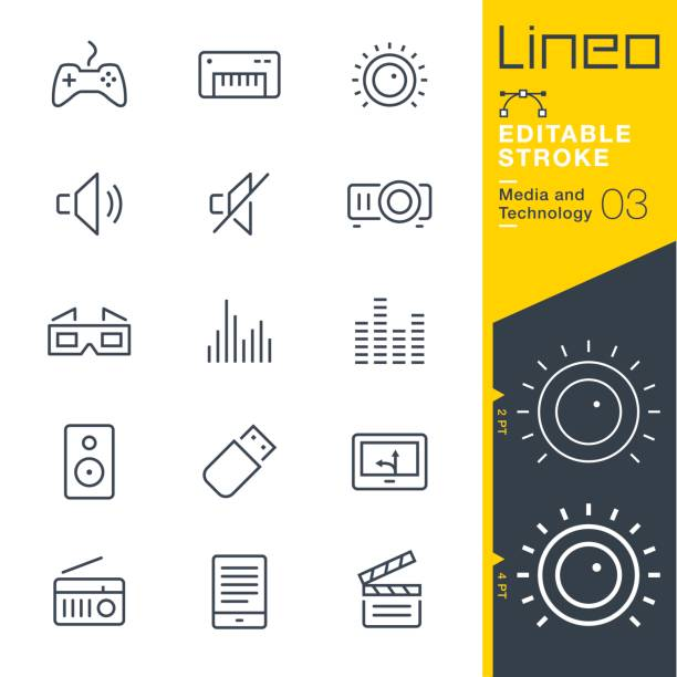 Lineo Editable Stroke - Media and Technology line icons Vector Icons - Adjust stroke weight - Expand to any size - Change to any colour knob stock illustrations
