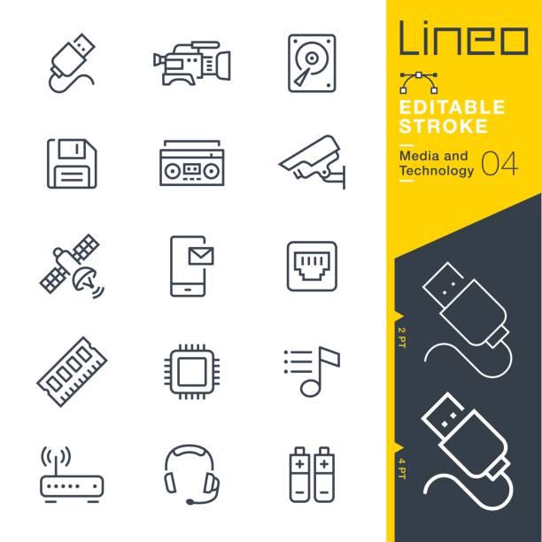 illustrazioni stock, clip art, cartoni animati e icone di tendenza di lineo editable stroke - media and technology line icons - video call