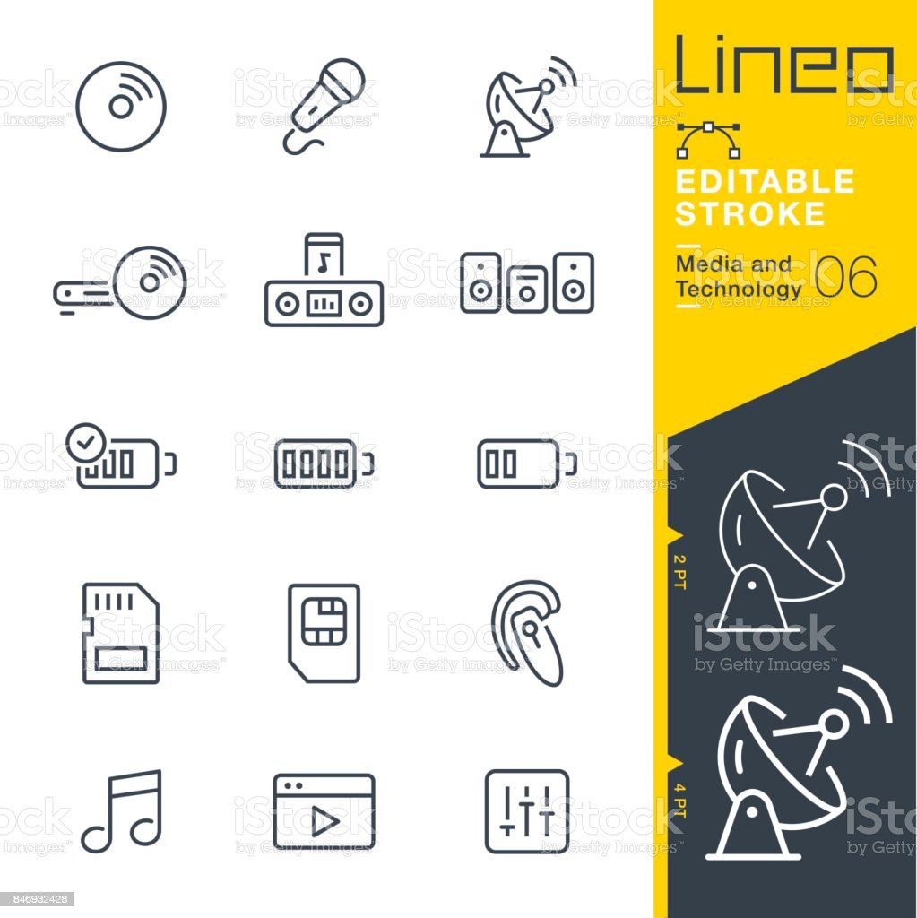 Lineo Editable Stroke - Media and Technology line icons royalty-free lineo editable stroke media and technology line icons stock illustration - download image now