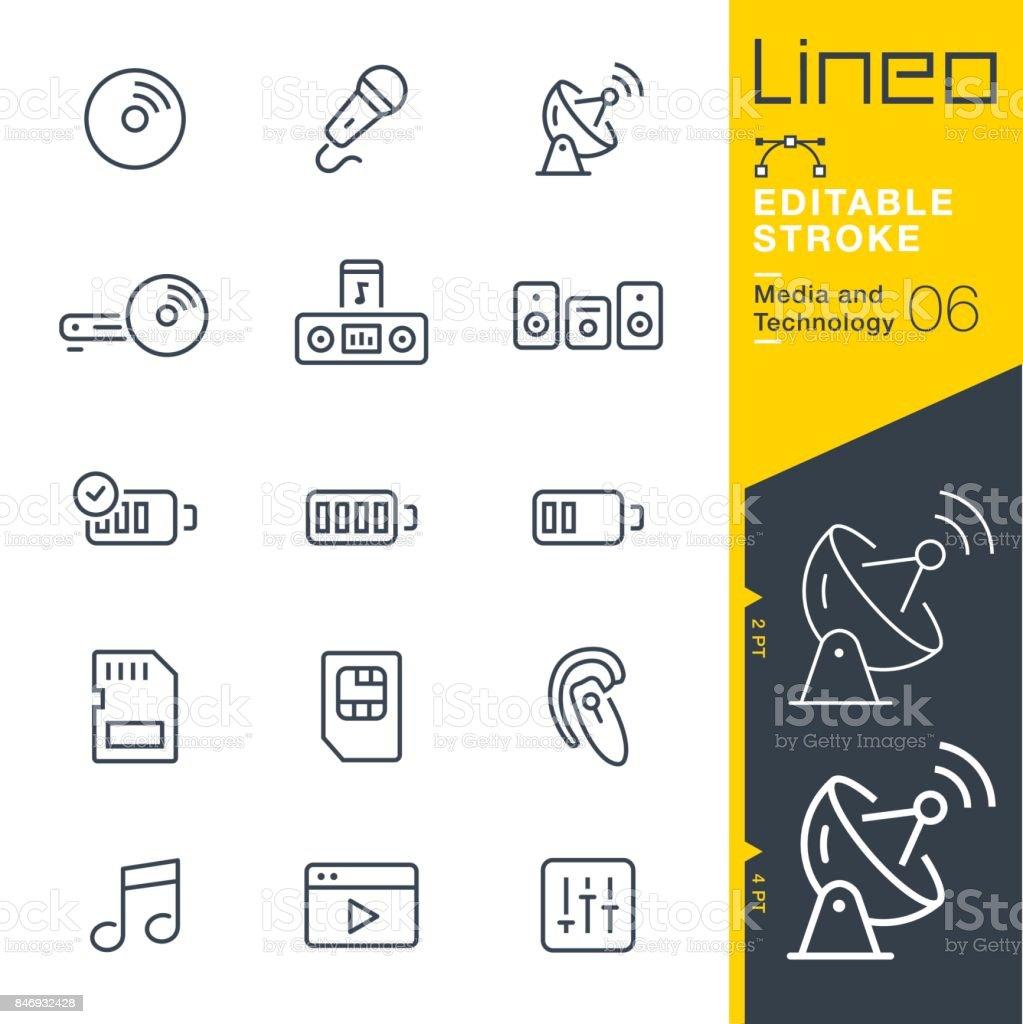 Lineo 編集可能なストローク - メディアとテクノロジー ライン アイコン ベクターアートイラスト