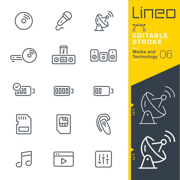 Lineo Editable Stroke - Media and Technology line icons Vector Icons - Adjust stroke weight - Expand to any size - Change to any colour rechargeable battery stock illustrations