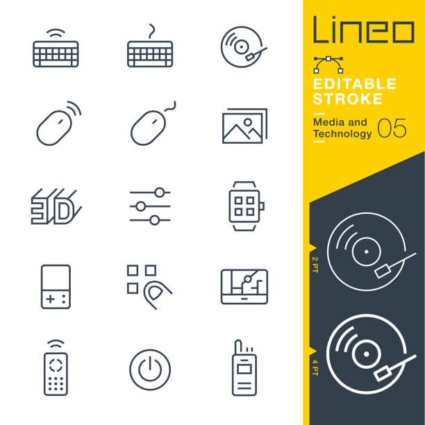 ilustrações, clipart, desenhos animados e ícones de ícones de linha lineo editável stroke - mídia e tecnologia - toca discos