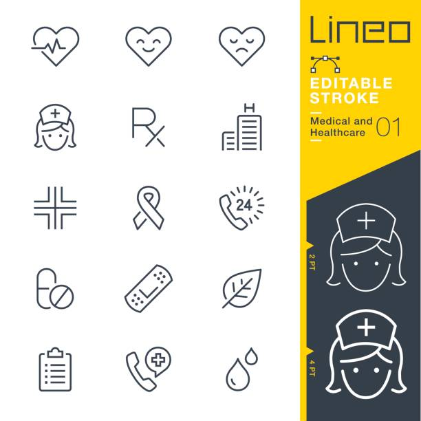lineo editable stroke - medical and healthcare line icons - nurse stock illustrations, clip art, cartoons, & icons