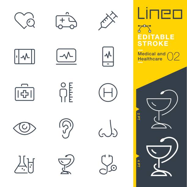 Lineo Editable Stroke - Medical and Healthcare line icons Vector Icons - Adjust stroke weight - Expand to any size - Change to any colour ear stock illustrations