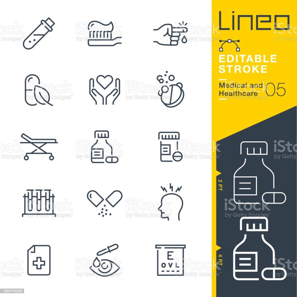 LineO redigerbara Stroke - medicin och sjukvård linje ikoner - Royaltyfri Apotek vektorgrafik