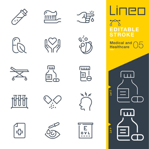 illustrazioni stock, clip art, cartoni animati e icone di tendenza di lineo editable stroke - medical and healthcare line icons - prescrizione medica