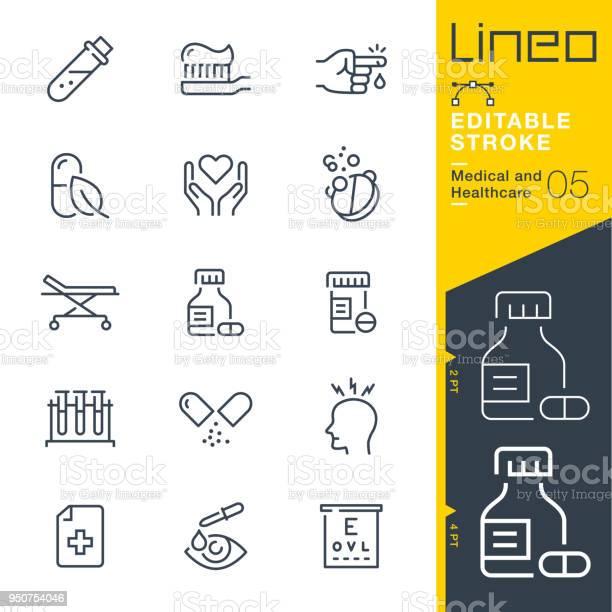 Lineo Redigerbara Stroke Medicin Och Sjukvård Linje Ikoner-vektorgrafik och fler bilder på Apotek