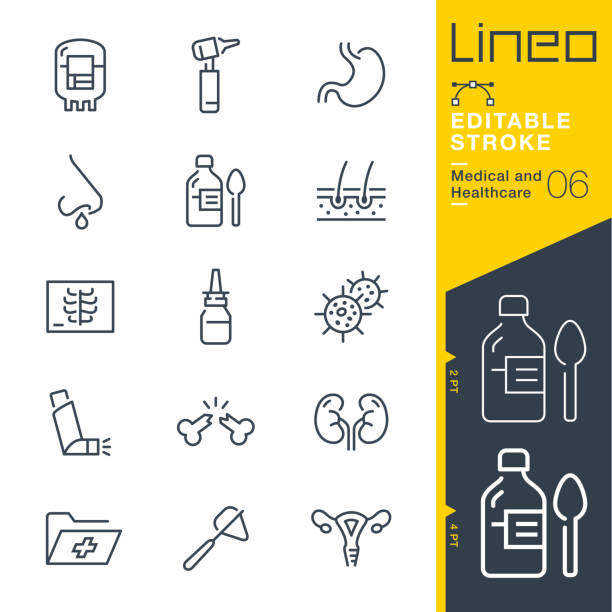 Lineo Editable Stroke - Medical and Healthcare line icons Vector Icons - Adjust stroke weight - Expand to any size - Change to any colour radiology stock illustrations