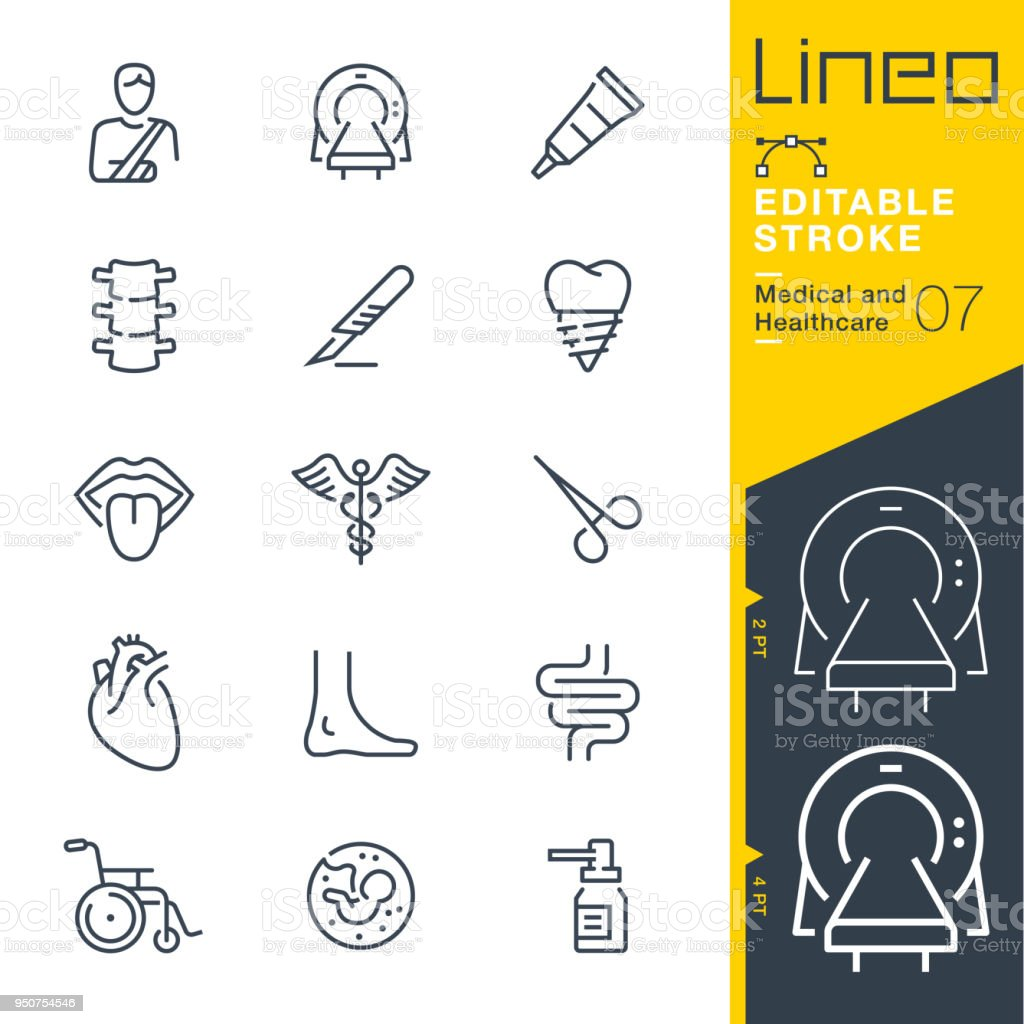 Lineo Editable Stroke - Medical and Healthcare line icons vector art illustration