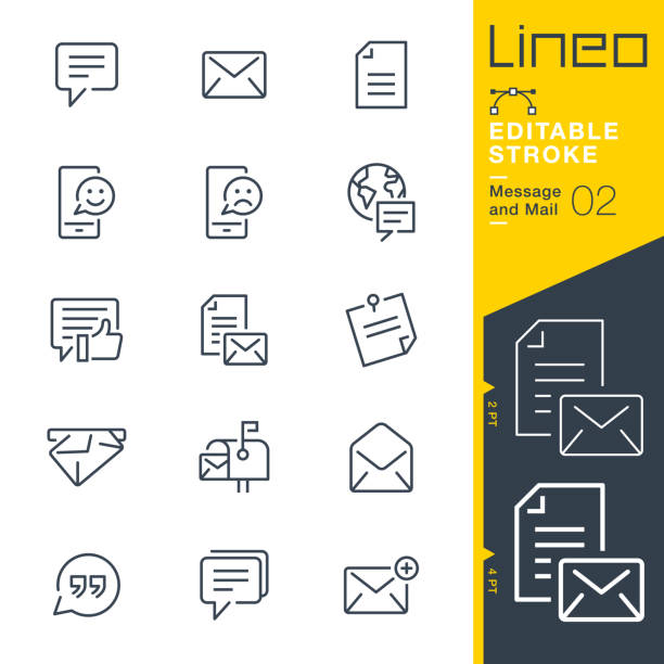 Lineo Editable Stroke - Message and Mail line icons vector art illustration